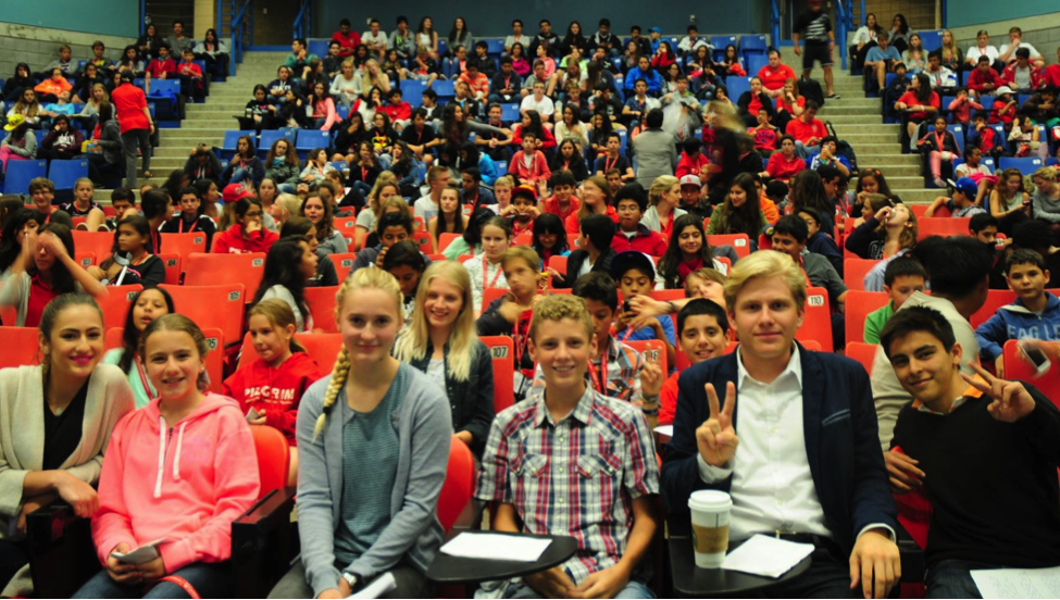 Destination Canada students gather in Carleton University's main auditorium for Speech Finals