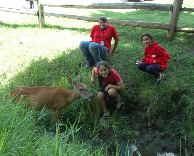Campers pose for a picture with a deer