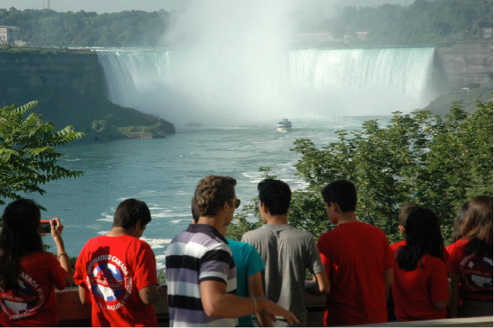 Destination Canada students on a weekend trip to the Falls, from their school campus in Ottawa