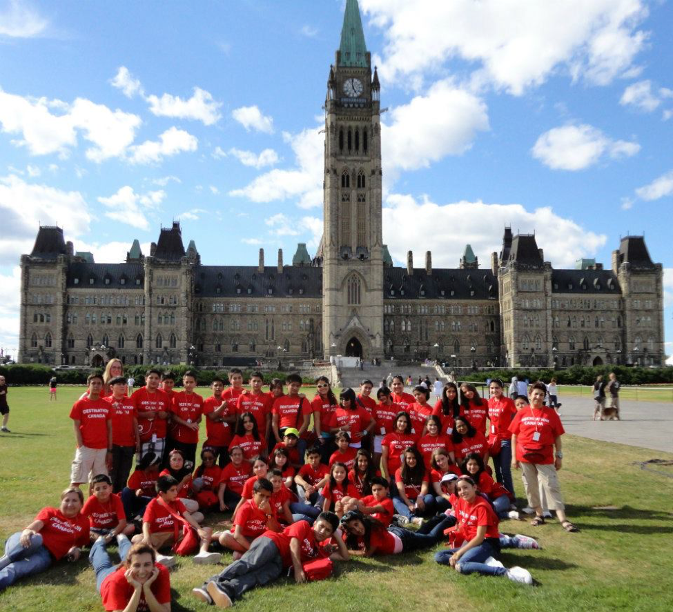 Destination Canada summer English students visit Parliament Hill in Ottawa