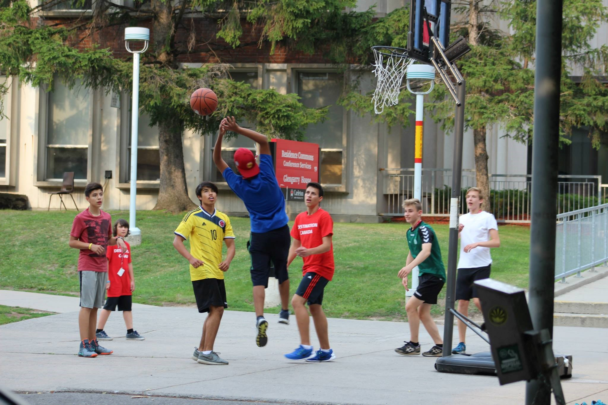 Destination Canada students playing a game of basketball